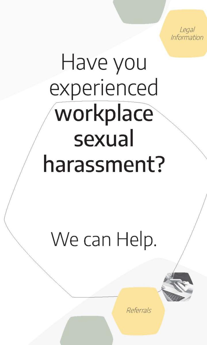 Cover of the workplace sexual harassment program brochure